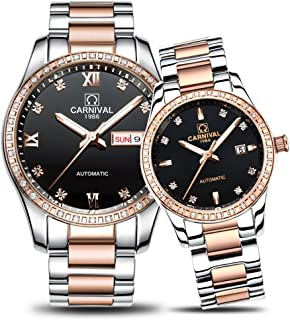 His and Her Watches Automatic Stainless Steel Couple Watches Women Men Watch Lovers Gift Clock Boys