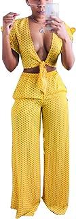 Women's Sexy 2 Piece Outfits - Fashion Dot Printed Falbala Tie Deep V Neck 2 Crop Tops + Wide Leg Pants Sets