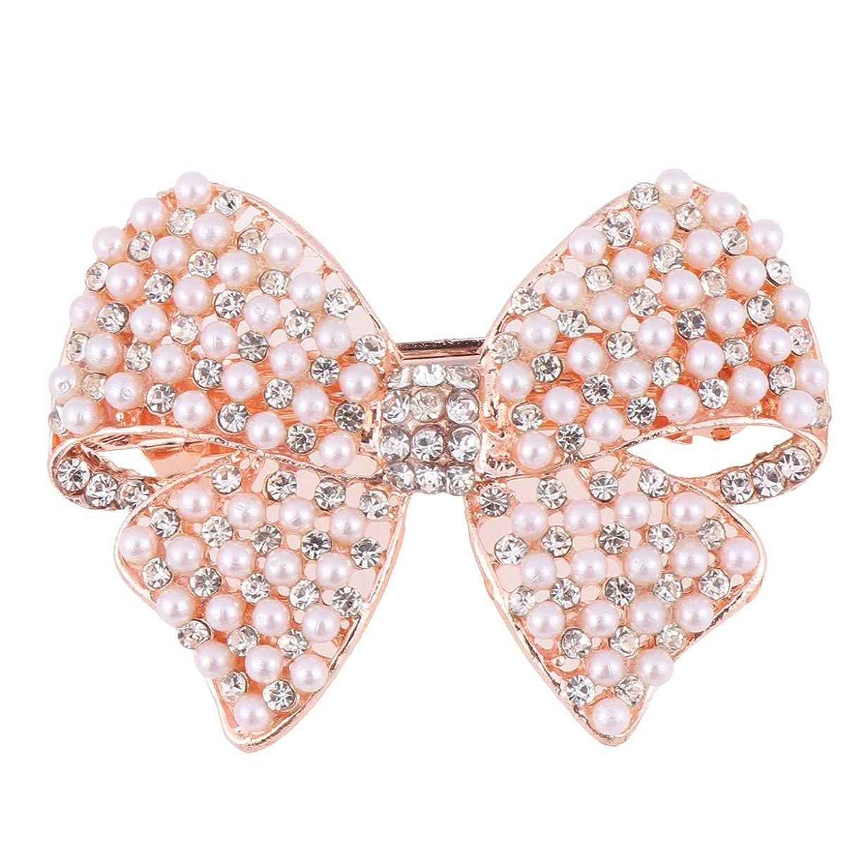 信頼退屈させるオリエントBeaupretty 女性のための真珠の弓のヘアクリップラインストーンヘアピンヘッドドレスバレッタちょう結び