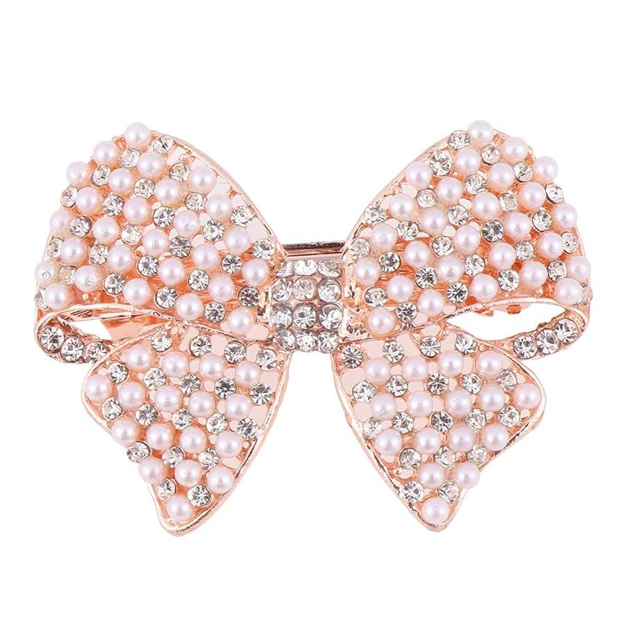 寄稿者首相つぼみBeaupretty 女性のための真珠の弓のヘアクリップラインストーンヘアピンヘッドドレスバレッタちょう結び