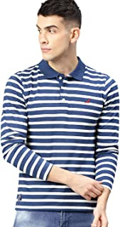 AMERICAN CREW Full Sleeves Polo Collar Striped T-Shirt for Men