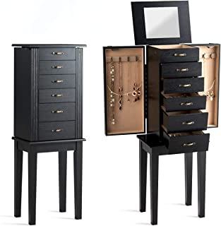CHARMAID Standing Jewelry Cabinet Armoire Chest with Top Flip Mirror and 5 Drawers, 2 Side Swing Doors, 8 Necklace Hooks, Standing Jewelry Armoire Organizer with Dividers (Black)