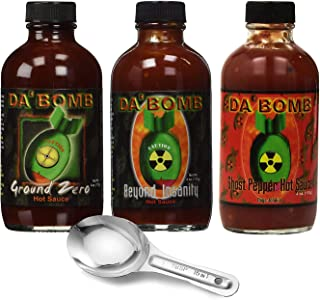 Original Juan DA BOMB Hot Sauce - Variety of 3 Flavors ( Ground Zero, Beyond Insanity & Ghost Pepper ) 4 oz - with Free Spoon