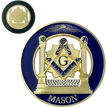 Freemason 3 Auto Car tag Decal Heavy Metal Emblem Gold and Blue PHA Equinox Masonic Regalia AE-+8972