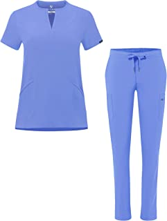 Adar Addition Go-Higher Scrub Set for Women - Notched V-Neck Scrub Top & Skinny Cargo Scrub Pants
