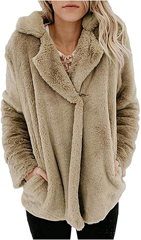Women's Faux Fur Coat Solid Colored Notch Lapel Outwear
