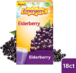 Emergen-C Elderberry Fizzy Drink Mix, Elderberry Immune Support, Natural Flavors, with High Potency Vitamin C, Elderberry, 18 Count
