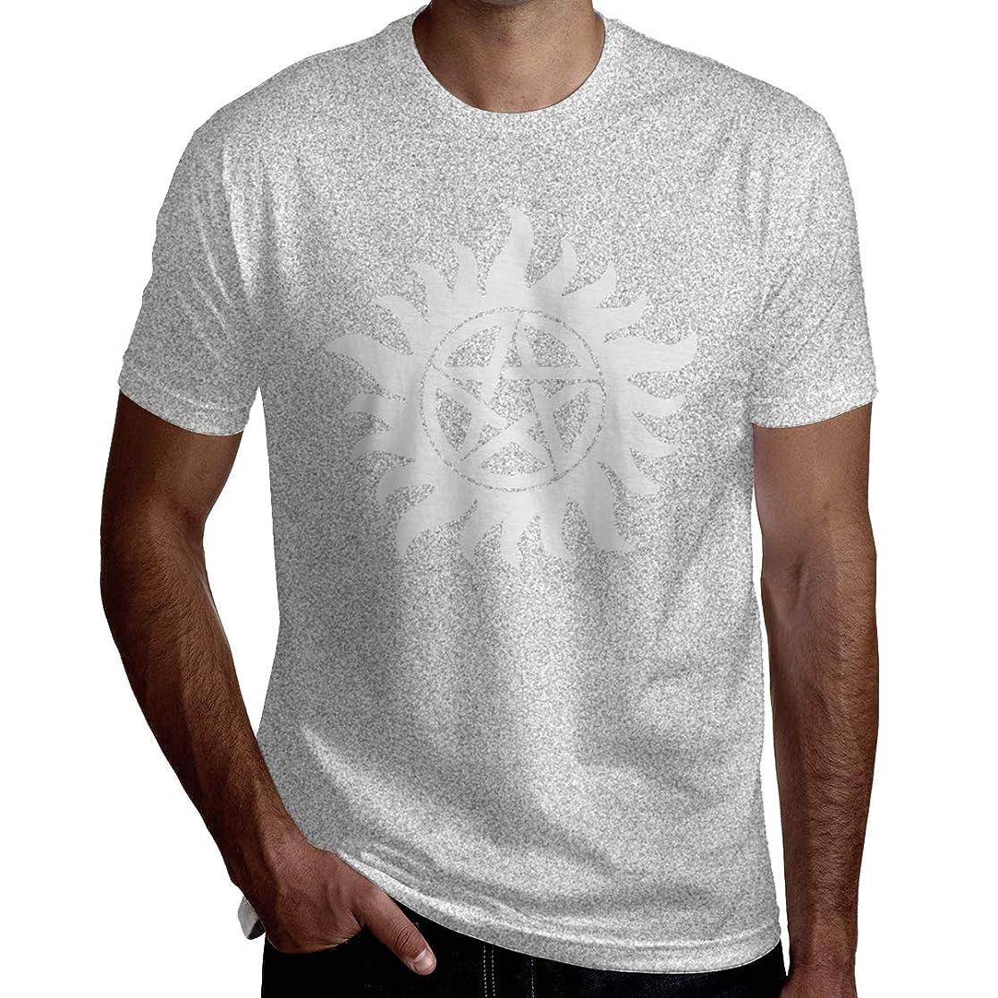 自治非武装化名門五角星の太陽 メンズ シャツ 半袖 薄手 カットソー カジュアル トップス オリジナル プリント シンプル ファッション