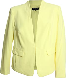 Women's Plus Long Sleeve Collarless Blazer Jacket 14w Pale Yellow