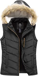 Women's Thicken Vest Quilted Padding Puffer Vest with Lambswool Hood