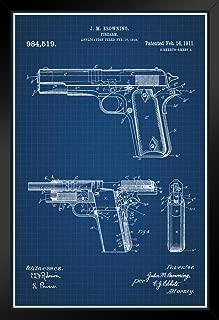1911 Handgun Browning Official Patent Blueprint Black Wood Framed Poster 14x20