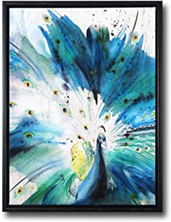 Wall Art for Living Room-Teal Canvas Print Picture 'Peacock Spread Its Wings' Artwork with 1.4'' Thick Black Floater Frame Ready to Hang for Home Bedroom Decor 16X24