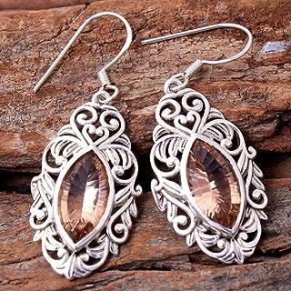 Orecchini pendenti in argento sterling con gemme di morganite per donne e ragazze, orecchini con castone per orecchini, or...