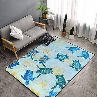 NiYoung Blue Baby Sea Turtle Area Rugs, Bedroom Living Room Kitchen Mat, Floor Mat Doormats Nursery Rugs, Children Play Rug Carpet Bath Mat, Throw Rugs Carpet Yoga Mat