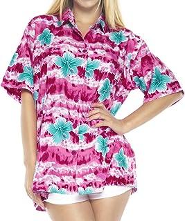 LA LEELA Shirt Camisa Hawaiana Hombre XS - 5XL Manga Corta Delante de Bolsillo Impresión Hawaiana Casual Regular Fit Camisa de Hawaii Azul