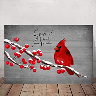 HOMEOART Red Cardinal Bird Canvas Wall Art Animal Painting Red Bird on Branches Giclee Art Print Gallery Wrap Ready to Hang 24