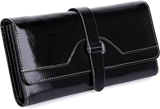 S-ZONE Women's RFID Blocking Real Leather Long Organizer Wallet Card Holder Ladies Clutch(Black)