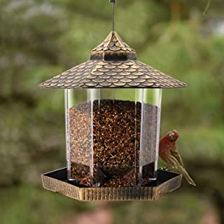 Best Twinkle Star Wild Bird Feeder Hanging for Garden Yard Outside Decoration, Hexagon Shaped with Roof Review
