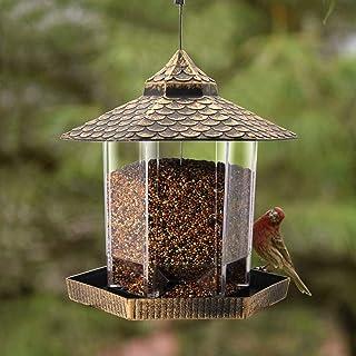 Twinkle Star 屋根形 飾り 六角外 庭 庭 用 ぶら下げ野生 鳥 餌箱 ブロンズ