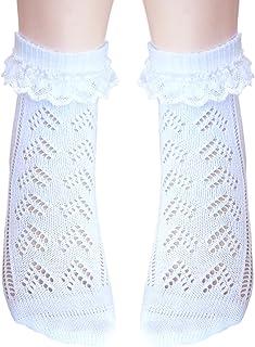 JHosiery Niñas calcetines con costura plana pointelle con encaje para pies sensibles (23-26, 2 pares Blanco)