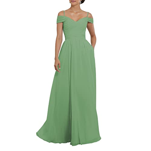0684d5f306a YORFORMALS Women s Off The Shoulder Pleated Chiffon Bridesmaid Dress Formal  Evening Party Gown Pockets