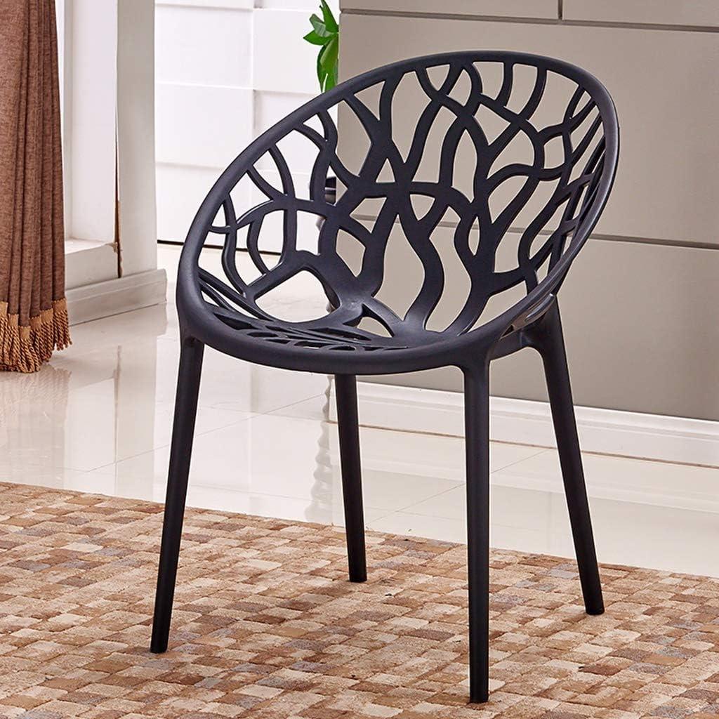 SLL- Chaise de Salle, Chaise de Bureau Simple, créative Dossier, Chaise Loisirs, Maison Adulte Chaise de Salle Moderne (Color : Black) Black