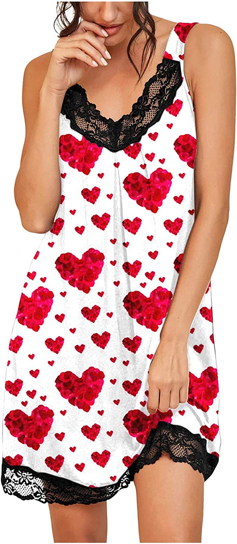 Women's Printed Sexy Deep V Lace Camisole Pajama Dress Lace Lingerie Sleepwear Blouse Dress