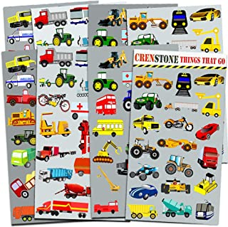 Crenstone Cars and Trucks Stickers Party Supplies Pack Toddler -- Over 160 Stickers (Cars, Fire Trucks, Construction, Buse...