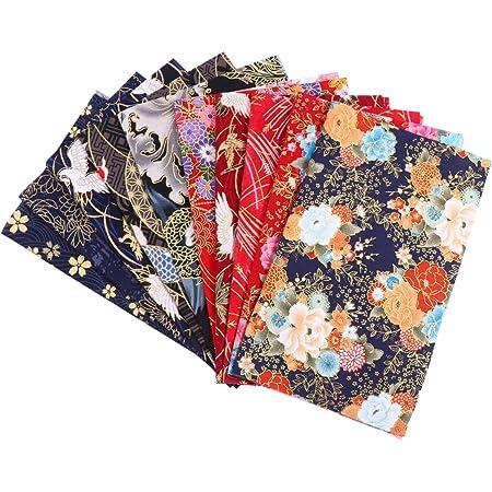 PRETYZOOM 10 Pcs Coton Tissu Feuilles Quilting Tissus à Coudre Style Japonais Fleur Imprimé Tissu Patchwork pour Bricolage Artisanat Couture Scrapbooking Vêtements 20X25mm