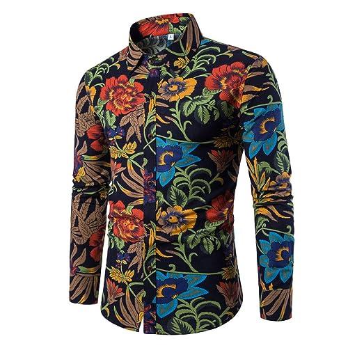 Mens Fashion Causal Shirt Floral Printed Dress Shirt Long Sleeve Nightclub Tops