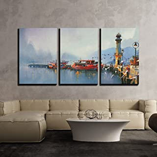 wall26 - 3 Piece Canvas Wall Art - Fishing Boat in Harbor at Morning,Watercolor Painting Style - Modern Home Decor Stretched and Framed Ready to Hang - 16