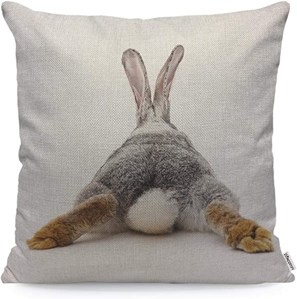 WONDERTIFY Throw Pillow Case Cover Grey Rabbit Isolated On A White Background Bunny Tail Back Soft Linen Pillow Case For Decorative Bedroom Livingroom Sofa Farm House Cushion Covers 18x18 Inch