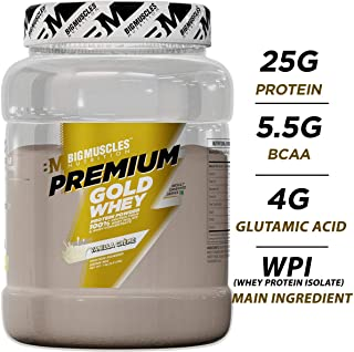 Bigmuscles Nutrition Premium Gold Whey 1Kg[Vanilla Creme], Whey Protein Concentrate & Whey Protein Isolate, 25g Protein Per Serving, 0g Sugar, 5.5g BCAA & 4g Glutamic Acid