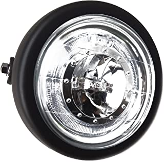 "TASWK 6 1/2"" CREE LED Motorcycle Retro Black Clear Lens Headlight Halo Ring for Harley Bobber Cafe Racer Cruiser Vintage Style"