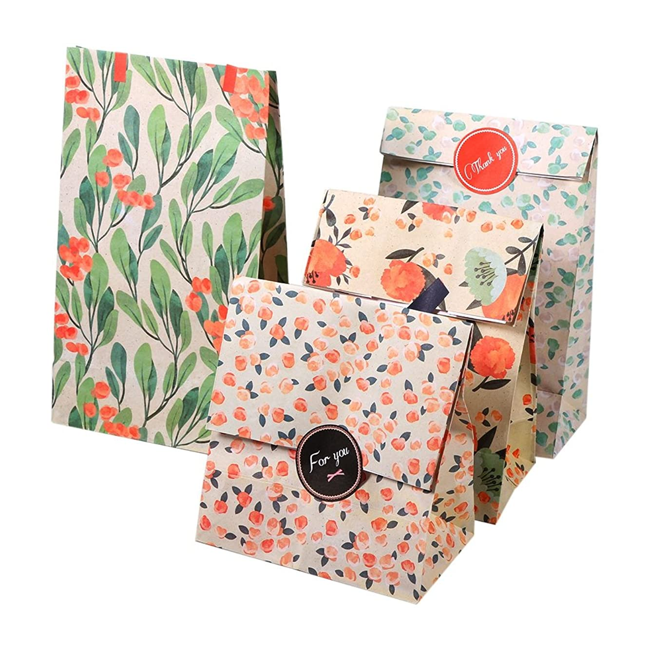 12PCS Flower Pattern Kraft Paper Bag Paper Gift Bags Treat Bags Candy Cookie Biscuits Bag Craft Bags Merchandise Bags with Stickers for Baby Shower Wedding Birthday Party