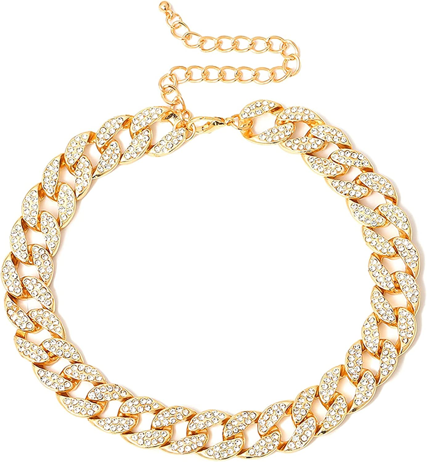 COLORFUL BLING Shiny Cubic Zircon Curb Cuban Link Chain Choker Rhinestone Inlaid for Women Unisex Cool Hip Hop Nightclub Party Statment Jewelry