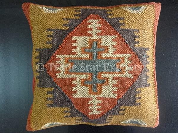 贸易之星手工基里姆抱枕套印度户外靠垫套 18x 18 Dec 装饰沙发抱枕套波西米亚羊毛黄麻靠垫