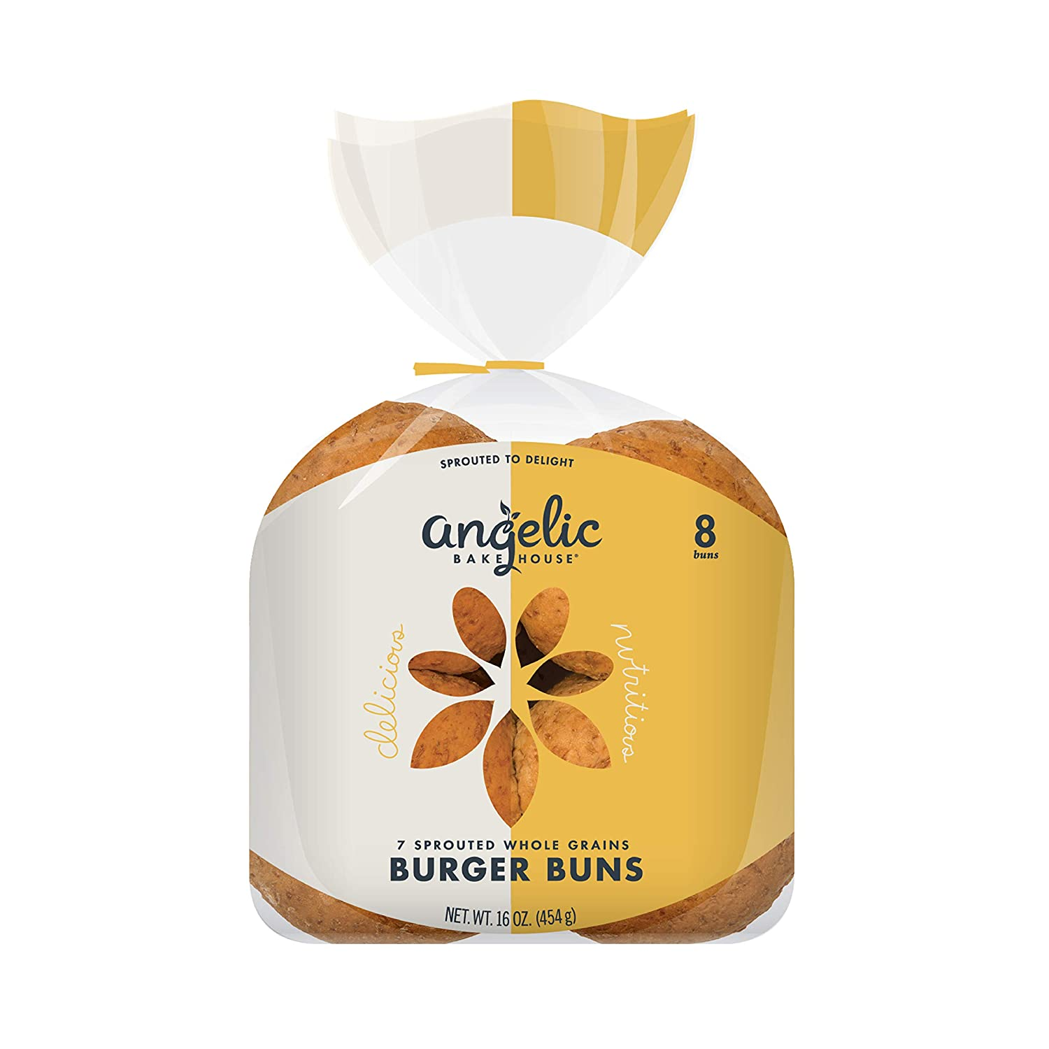 Angelic Bakehouse Burger Buns Pack – 16 Ounce, Pack of 3 – Sprouted Whole Grains – Vegan, Kosher and Non-GMO (24 Buns)