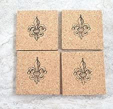 Fleur de Lis Cork Coasters, Set of 4, Thick absorbent coasters
