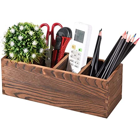 Coideal Rustic Wooden Remote Control Holder Caddy// Desktop Office Supplies