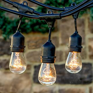 32ft LED Indoor/Outdoor String Lights Include 10 Warm White S14 Incandescent Bulbs, Waterproof 11W Bulb String Light for P...