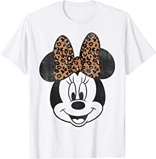 Mickey And Friends Minnie Mouse Leopard Bow Portrait T-Shirt