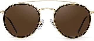 Small Polarized Round Sunglasses for Women Vintage Double Bridge Frame