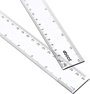 2 Pack Plastic Ruler Straight Ruler Plastic Measuring Tool for Student School Office (Clear, 12 Inch)