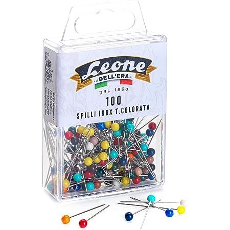 Leone Dell'Era 100 alfileres de acero inoxidable cabeza de plástico (mm 0,60 x 32) -Caja para colgar, varios colores
