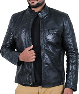 Laverapelle Men's Genuine Lambskin Leather Jacket (Black, Classic Jacket) - 1501135