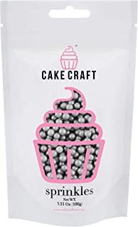 Cake Craft Sprinkles Silver Sugar Pearls 3.52 Ounces