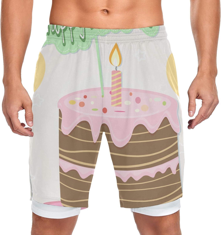 Tulsa Mall JIUCHUAN All items free shipping Running Shorts Cake BalloGreeting Traini Card Men Happy