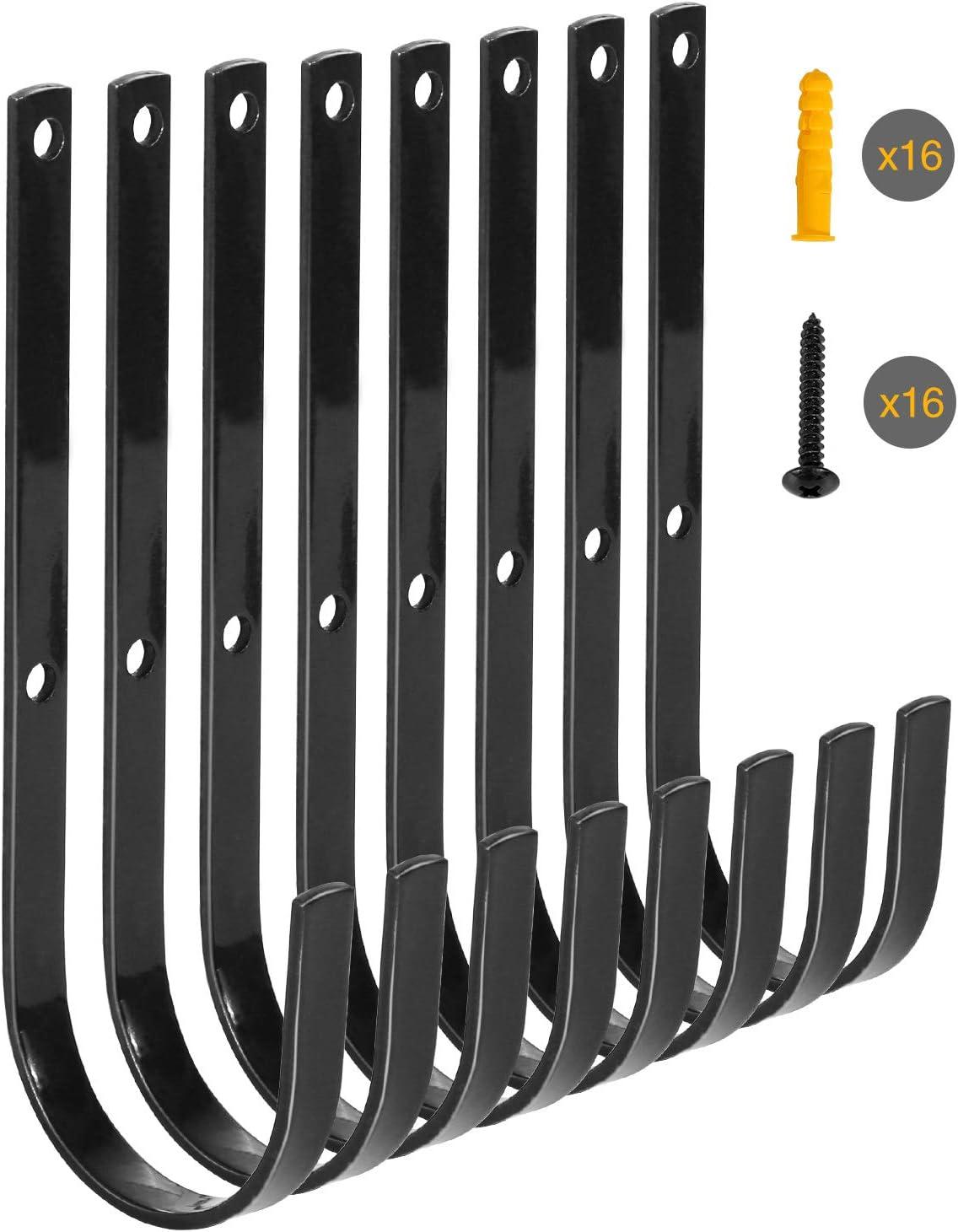 Redcamp Black Iron Heavy Free shipping Duty Storage Utility Set of Lar 8 Hooks Sale item