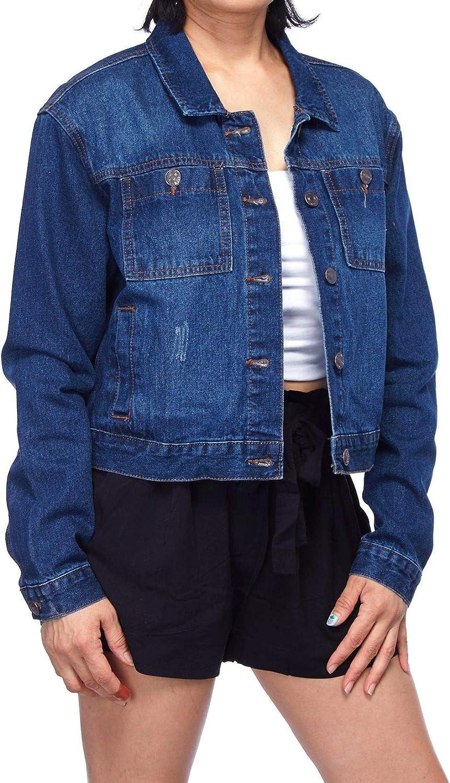 FashionMille Women Crop Oversize Trucker Boyfriend Long Sleeve Denim Jean Jacket